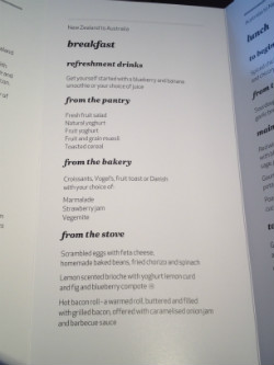 Air NZ business class menu 1
