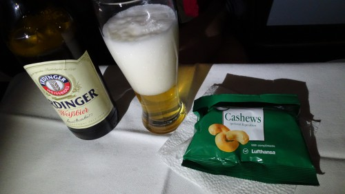 Lufthansa business class beer and nuts