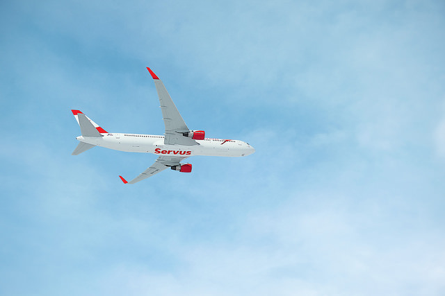 Austrian Airlines Plane in Blue Sky