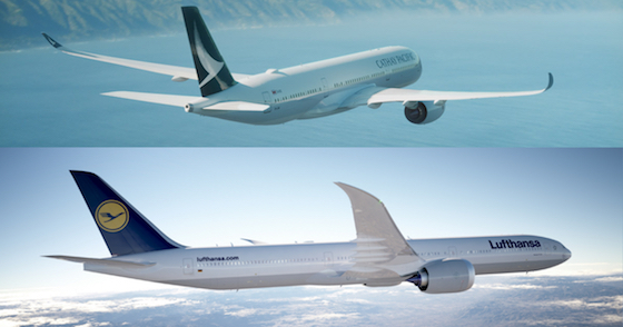 Cathay Pacific & Lufthansa planes