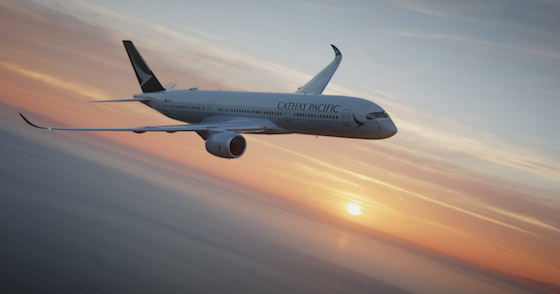 Cathay Pacific A350 flying at sunset