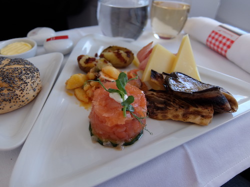Antipasto Entree onboard Austrian Airlines business lass