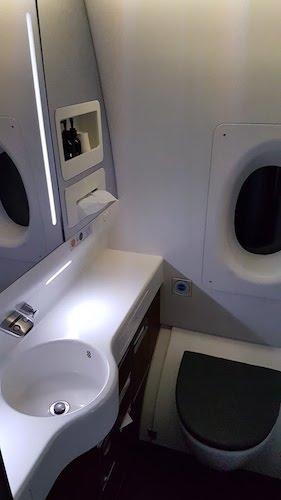 Qantas first class bathrooms.