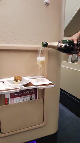 Pre Departure Champagne and Arancini.