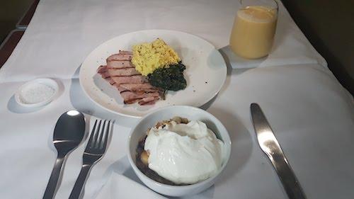 Breakfast onboard Qantas A380 first class.