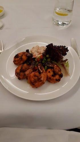 Tandoori Prawns from the Qantas first class dinner menu.