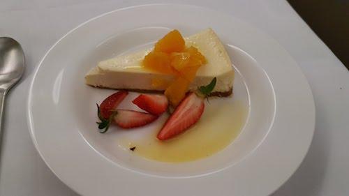 Vanilla Cheesecake from the Qantas first class dinner menu.