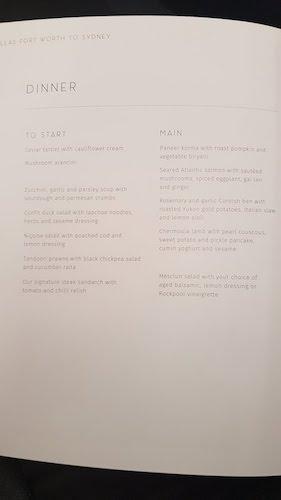 Qantas first class dinner menu.