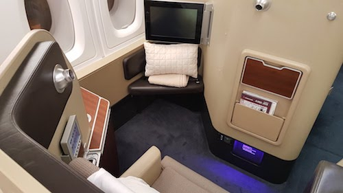 Inside the First class seat.