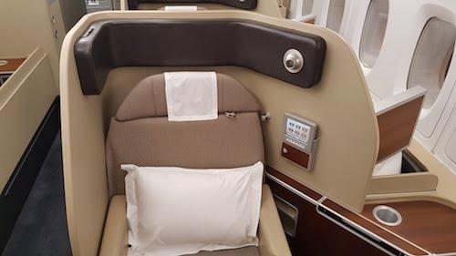 Qantas First Class seat.