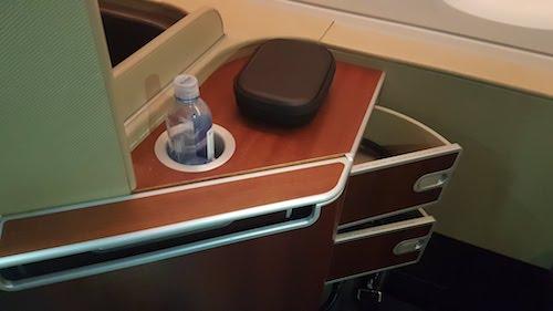 Qantas First Class Drink holder and shelf