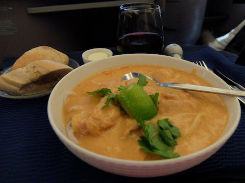 United Airline Business Class inflight meals: Spicy Chicken in Thai coconut broth