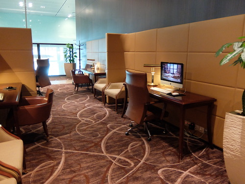 First Class lounge work stations.