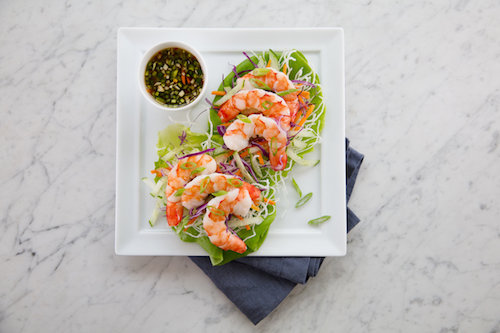 Shrimp Lettuce Cup, served in the United Airlines Polaris Lounge Houston.