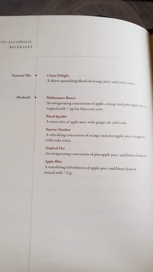 Singapore Suites Wine List