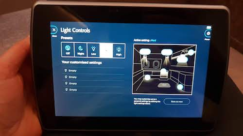 Your entertainment and even your personal lighting design is controlled via a tablet stored in your console.