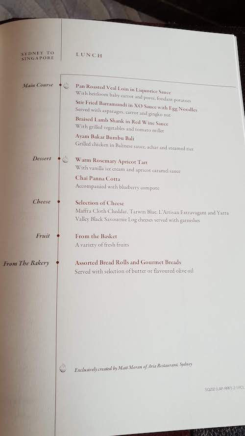 Singapore Suites Inflight Menu