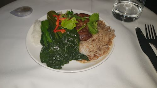 Chinese Braised Pork with Gai Lan, Steamed Rice, Chilli and Spring Onion.