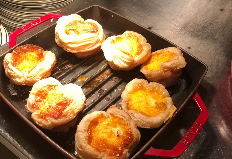 Hot food available included Egg Muffin in Puff Pasty with Bacon