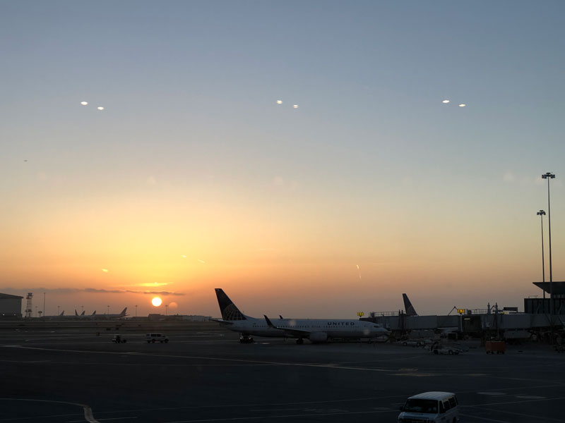 Sunrise over San Francisco Airport