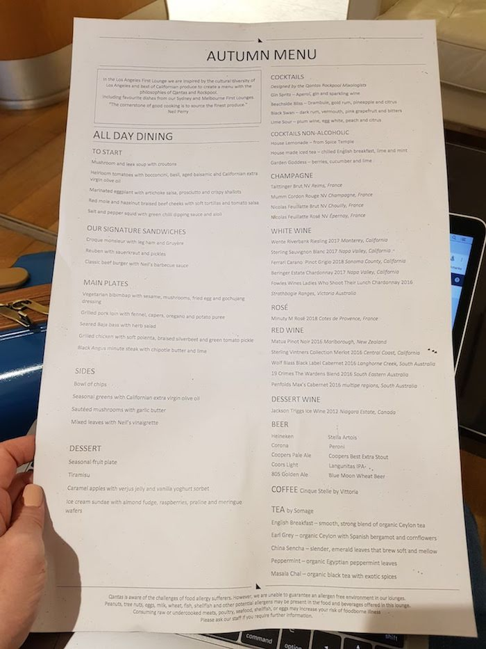Qantas LAX First Class Lounge Menu